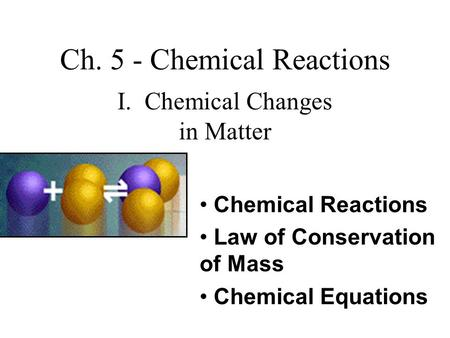 Ch. 5 - Chemical Reactions I. Chemical Changes in Matter Chemical Reactions Law of Conservation of Mass Chemical Equations.