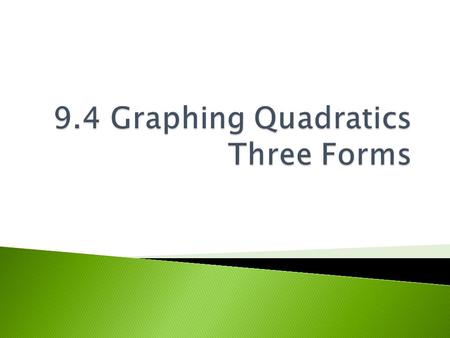9.4 Graphing Quadratics Three Forms