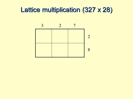 Lattice multiplication (327 x 28) 327 2 8. 327 2 8.