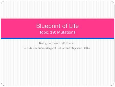 Biology in Focus, HSC Course Glenda Childrawi, Margaret Robson and Stephanie Hollis Blueprint of Life Topic 19: Mutations.