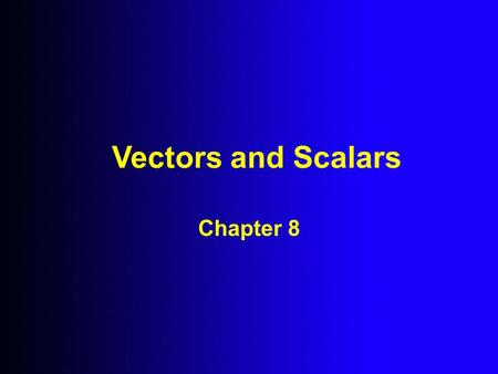Vectors and Scalars Chapter 8. What is a Vector Quantity? A quantity that has both Magnitude and a Direction in space is called a Vector Quantity.