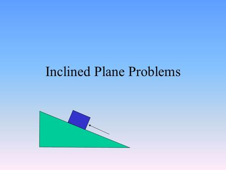 Inclined Plane Problems. Forces Acting on the Object F applied F normal F friction WXWX W WyWy Note: The applied force and the force of friction can be.