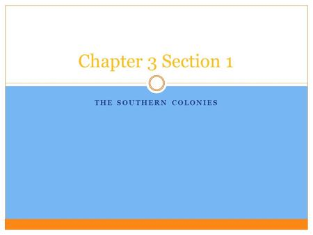 THE SOUTHERN COLONIES Chapter 3 Section 1. The Southern Colonies Founding a New Colony  1605- Company of English merchants went to the king to get a.