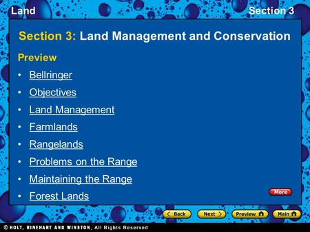 LandSection 3 Section 3: Land Management and Conservation Preview Bellringer Objectives Land Management Farmlands Rangelands Problems on the Range Maintaining.