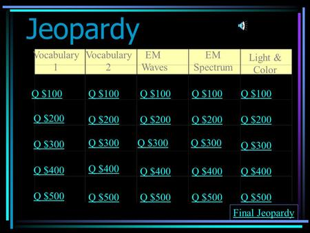 Jeopardy Vocabulary 1 Vocabulary 2 EM Waves EM Spectrum Light & Color Q $100 Q $200 Q $300 Q $400 Q $500 Q $100 Q $200 Q $300 Q $400 Q $500 Final Jeopardy.
