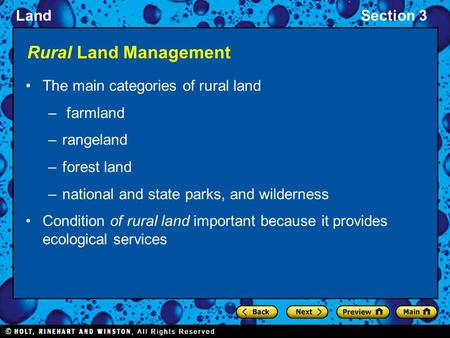 LandSection 3 Rural Land Management The main categories of rural land – farmland –rangeland –forest land –national and state parks, and wilderness Condition.