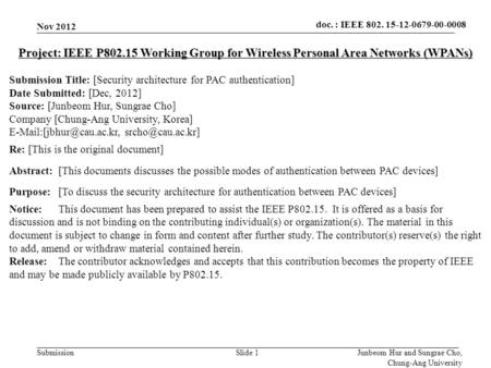 Doc.: IEEE 802.15-xxxxx Submission doc. : IEEE 802. 15-12-0679-00-0008 Nov 2012 Slide 1 Project: IEEE P802.15 Working Group for Wireless Personal Area.