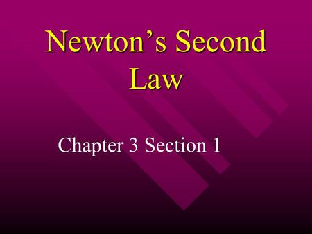 Newton's Second Law Chapter 3 Section 1. Newton's Second Law Suppose you are stuck in the mud with your car Suppose you are stuck in the mud with your.