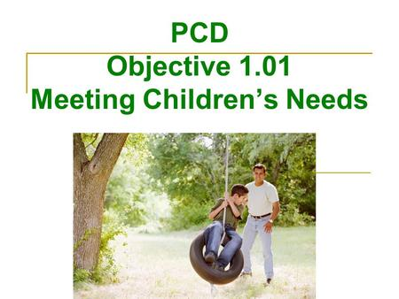 PCD Objective 1.01 Meeting Children's Needs. Nurture Children Providing the type of care that encourages healthy growth and development Giving a child.