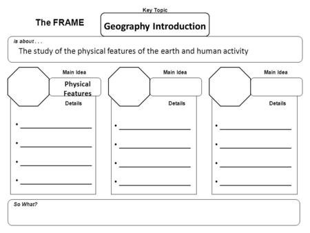 The FRAME Key Topic is about... So What? Main Idea Details _________________ Geography Introduction The study of the physical features of the earth and.