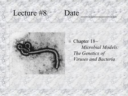 Lecture #8Date _________ n Chapter 18~ Microbial Models: The Genetics of Viruses and Bacteria.