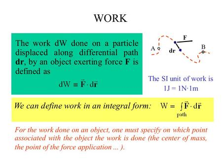 WORK The work dW done on a particle displaced along differential path dr, by an object exerting force F is defined as A B F dr The SI unit of work is 1J.