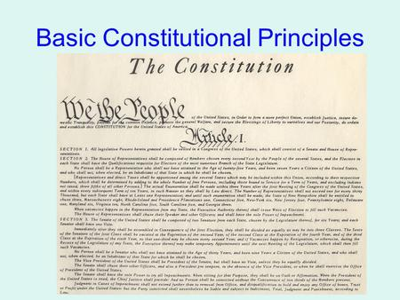 "Basic Constitutional Principles. 1789-Present Our Plan of Government Limits power by: Creating 3 Separate branches, each w/job Each branch ""checks"" the."