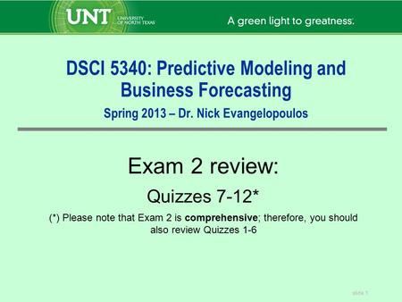 DSCI 5340: Predictive Modeling and Business Forecasting