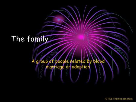 The family A group of people related by blood marriage or adoption © PDST Home Economics.