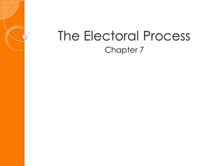 The Electoral Process Chapter 7. The Nominating Process.