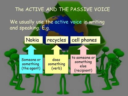 The active and the passive voice 1 We usually use the active voice in writing and speaking. E.g. Nokia Someone or something (the agent) does something.