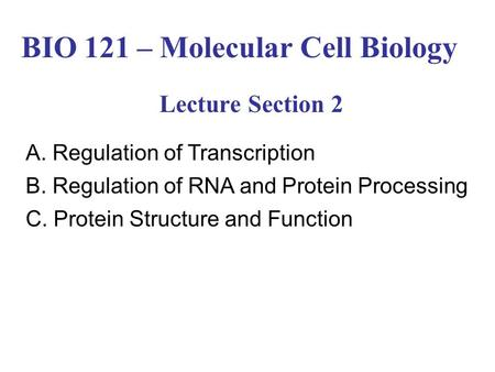 BIO 121 – Molecular Cell Biology Lecture Section 2 A. Regulation of Transcription B. Regulation of RNA <strong>and</strong> Protein Processing C. Protein Structure <strong>and</strong>.