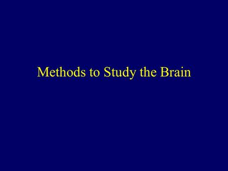 Methods to Study the Brain. The Brain How do we learn about the brain & its functions?