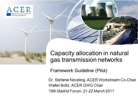 Capacity allocation in natural gas transmission networks Framework Guideline (Pilot) Dr. Stefanie Neveling, ACER Workstream Co-Chair Walter Boltz, ACER.
