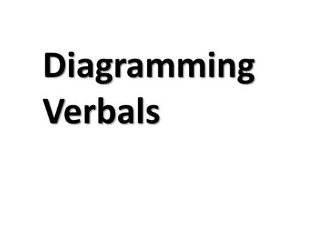 Diagramming Verbals. Gerunds Running marathons was his favorite pastime. was Running marathons pastime his favorite Recall that gerunds always function.