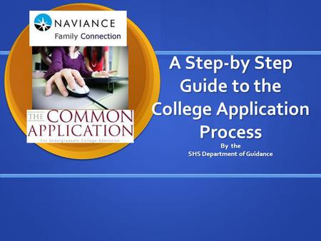 A Step-by Step Guide to the College Application Process By the SHS Department of Guidance.