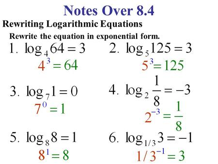 Notes Over 8.4 Rewriting Logarithmic Equations Rewrite the equation in exponential form.