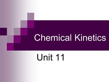Chemical Kinetics Unit 11. Chemical Kinetics Chemical equations do not give us information on how fast a reaction goes from reactants to products. KINETICS: