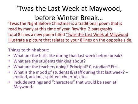 twas the last week at maywood before winter break
