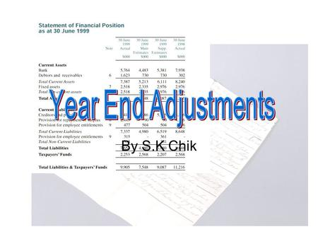 By S.K Chik. Accruals and Deferrals 1) Accrued Expenses (Expenses Owing) –Expenses due and unpaid at the end of the period –Transfer it to the P & L and.