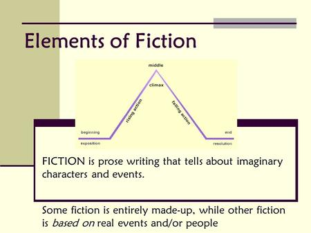 FICTION is prose writing that tells about imaginary characters and events. Some fiction is entirely made-up, while other fiction is based on real events.