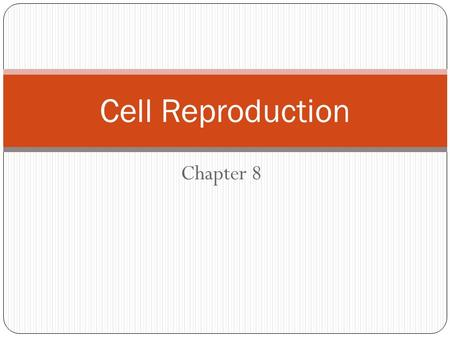 Chapter 8 Cell Reproduction. Chapter overview 3 SECTIONS: SECTION 1CHROMOSOMES SECTION 2CELL DIVISION SECTION 3MEIOSIS.