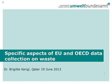 Specific aspects of EU and OECD data collection on waste Dr. Brigitte Karigl, Qatar 19 June 2013 1 14.