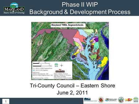 Phase II WIP Background & Development Process Tri-County Council – Eastern Shore June 2, 2011 1.