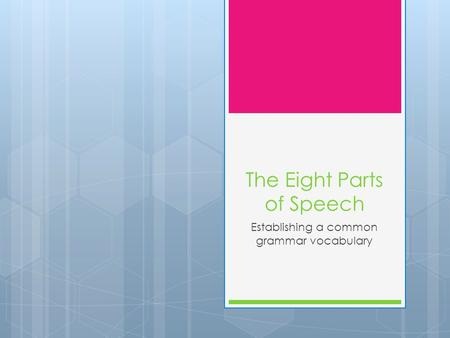 The Eight Parts of Speech Establishing a common grammar vocabulary.