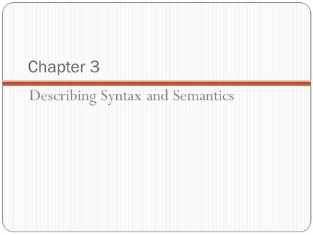 Chapter 3 1-1 Describing Syntax and Semantics. Chapter 3 Topics 1-2 Introduction The General Problem of Describing Syntax Formal Methods of Describing.