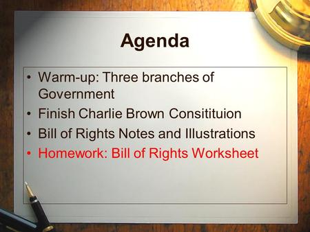 Agenda Warm-up: Three branches of Government