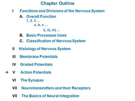 Chapter Outline I Functions and Divisions of the Nervous System A. Overall Function 1, 2, 3 … a, b, c … i), ii), iii) … B. Basic Processes Used C. Classification.