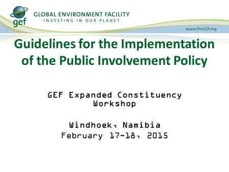 Guidelines for the Implementation of the Public Involvement Policy GEF Expanded Constituency Workshop Windhoek, Namibia February 17-18, 2015.