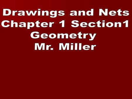 Drawings and Nets Chapter 1 Section1 Geometry Mr. Miller.