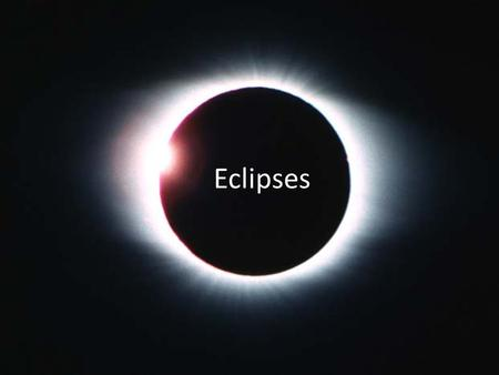Eclipses. Two Types – Solar Eclipse – Lunar Eclipse Solar Eclipse – The moon blocks the earth's view of the sun. Lunar Eclipse – The earth blocks the.