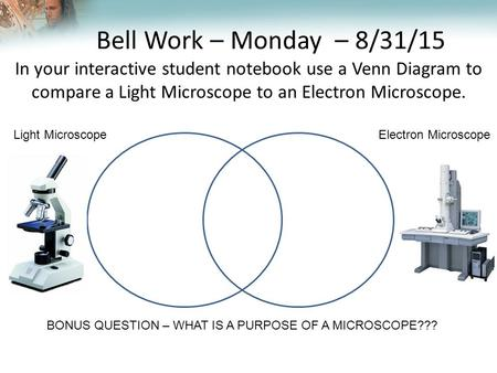 Lesson Overview Lesson Overview The Nature of Matter Bell Work – Monday – 8/31/15 In your interactive student notebook use a Venn Diagram to compare a.