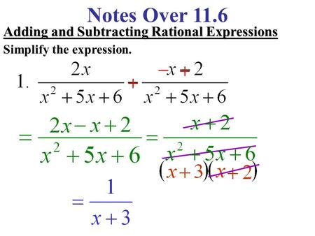 Notes Over 11.6 Adding and Subtracting Rational Expressions Simplify the expression.