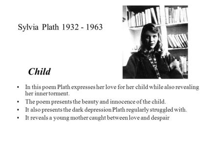 """metaphors analysis in sylvia plaths poem The poem, """"metaphors"""" by sylvia plath, would be an example of this some may look at this poem and believe it is random metaphors put into nine lines i believe this is a poem about plath's idea of pregnancy as compared to traditionally unrelated objects."""