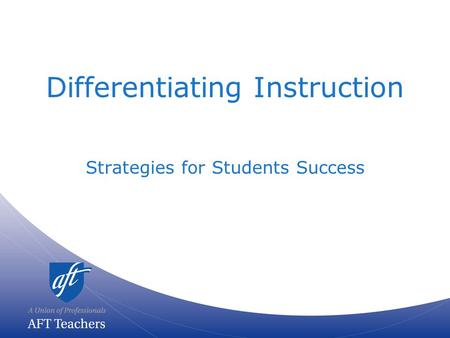 Differentiating Instruction Strategies <strong>for</strong> Students Success.