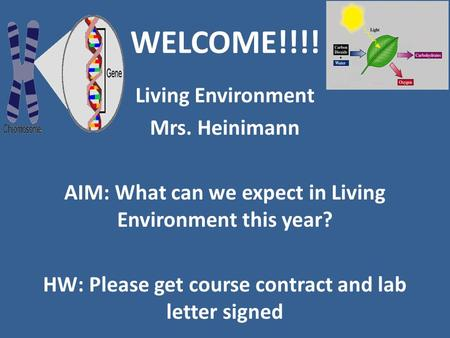 WELCOME!!!! Living Environment Mrs. Heinimann AIM: What can we expect in Living Environment this year? HW: Please get course contract and lab letter signed.