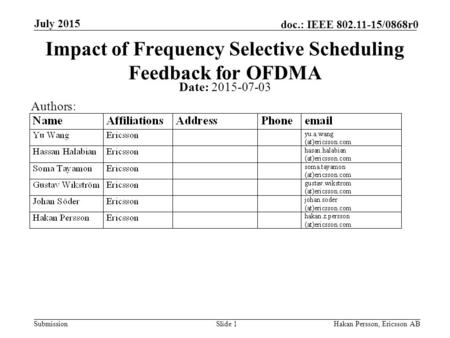 Submission doc.: IEEE 802.11-15/0868r0 July 2015 Hakan Persson, Ericsson ABSlide 1 Impact of Frequency Selective Scheduling Feedback for OFDMA Date: 2015-07-03.