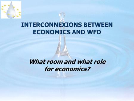 INTERCONNEXIONS BETWEEN ECONOMICS AND WFD What room and what role for economics?