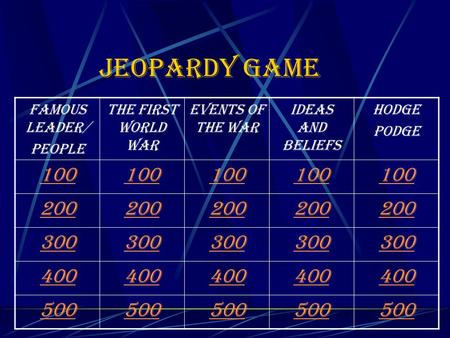 Jeopardy game Famous leader/ people The first World War Events of the War Ideas and beliefs Hodge Podge 100 200 300 400 500.
