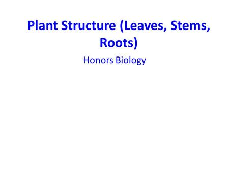 Plant Structure (Leaves, Stems, Roots)